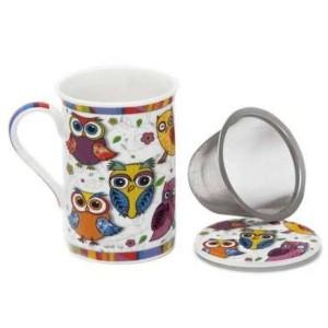 Tisanera Porcelana Búhos